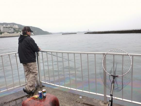 雨と汚染に耐えながら釣り糸を垂らす来遊客